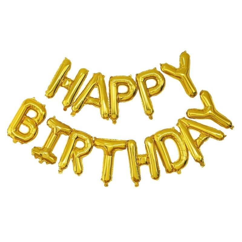 FETE EN KIT - DECORATION ANNIVERSAIRE - BALLON MYLAR HAPPY BIRTHDAY OR